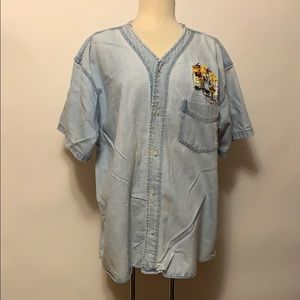 None Shirts - Vintage Looney Tunes Denim Button Up Shirt XL